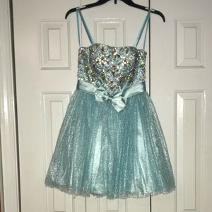 Light blue short sparkly prom dress